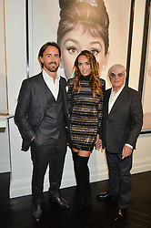 TAMARA ECCLESTONE -RUTLAND and her husband JAY RUTLAND with her father BERNIE ECCLESTONE at a party to celebrate the launch of the Maddox Gallery at 9 Maddox Street, London on 3rd December 2015.