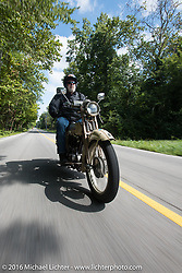 Tom Hayes (Ireland) riding his 1923 Harley-Davidson F during Stage 4 of the Motorcycle Cannonball Cross-Country Endurance Run, which on this day ran from Chatanooga to Clarksville, TN., USA. Monday, September 8, 2014.  Photography ©2014 Michael Lichter.