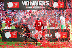 Eric Bailly celebrates with teammates after Manchester United win the match 1-2 - Rogan Thomson/JMP - 07/08/2016 - FOOTBALL - Wembley Stadium - London, England - Leicester City v Manchester United - The FA Community Shield.