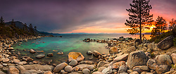 """""""Tahoe Boulders at Sunset 13"""" - Stitched panoramic photograph taken at sunset of boulders near Hidden Beach, Lake Tahoe."""