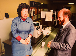 Joyce Rose, a former tea lady at at the BBC who gave bosses the idea for Children In Need, in the canteen at the BBC. London, November 14 2018.
