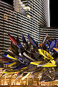 Canoe statue in front of the Aria Hotel and Casino, City Center, Las Vegas, Nevada.