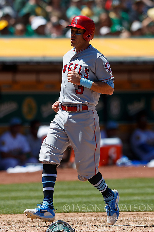 OAKLAND, CA - JUNE 17: Ian Kinsler #3 of the Los Angeles Angels of Anaheim scores a run against the Oakland Athletics during the seventh inning at the Oakland Coliseum on June 17, 2018 in Oakland, California. The Oakland Athletics defeated the Los Angeles Angels of Anaheim 6-5 in 11 innings. (Photo by Jason O. Watson/Getty Images) *** Local Caption *** Ian Kinsler