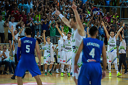 Miha Zupan, Alen Omic, Luka Rupnik of Slovenia and Slovenian fans during friendly basketball match between National teams of Slovenia and Italy at day 3 of Adecco Cup 2015, on August 23 in Koper, Slovenia. Photo by Grega Valancic / Sportida