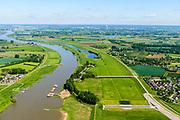 Nederland, Gelderland, Gemeente Lingewaard, 29-05-2019; de Pannerdensche Kop met overlaat en regelwerk, de Groene rivier bij Pannerden. De Rijn splitst zich hier in Waal en Pannerdensch Kanaal. <br /> The Rhine bifurcates into river Waal and Pannerdensch Channel. <br /> <br /> luchtfoto (toeslag op standard tarieven);<br /> aerial photo (additional fee required);<br /> copyright foto/photo Siebe Swart