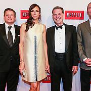NLD/Amsterdam/20130911 - Lancering Netflix in Nederland, Famke Janssen en directie Netflix, Reed Hastings en Ted Sarandos