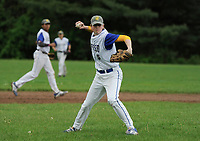 Gilford's Connor Sullivan makes a throw to home for the out during NHIAA division III baseball with White Mountain Tuesday afternoon.  (Karen Bobotas/for the Laconia Daily Sun)