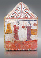 Lucanian fresco tomb painting of the deceased collecting pomegranates. Paestrum, Andriuolo. 3rd Century BC .<br /> <br /> If you prefer to buy from our ALAMY PHOTO LIBRARY  Collection visit : https://www.alamy.com/portfolio/paul-williams-funkystock - Scroll down and type - Paestum Fresco - into LOWER search box. {TIP - Refine search by adding a background colour as well}.<br /> <br /> Visit our ANCIENT GREEKS PHOTO COLLECTIONS for more photos to download or buy as wall art prints https://funkystock.photoshelter.com/gallery-collection/Ancient-Greeks-Art-Artefacts-Antiquities-Historic-Sites/C00004CnMmq_Xllw