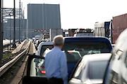 File op de snelweg A16 richting Dordrecht door open Van Brienenoordbrug..File caused by open bridge