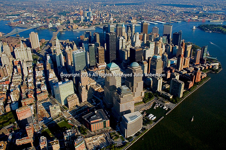 Aerial views of Lower Manhattan, View East, New York in  2002