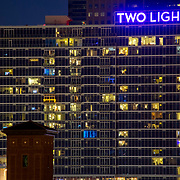Two Light Tower at dusk in downtown Kansas City MO