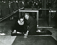 1927 Colleen Moore's hand and footprint ceremony at Grauman's Chinese Theater with Sid Grauman