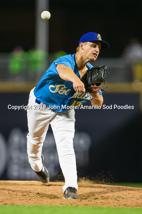 Amarillo Sod Poodles pitcher Evan Miller (17) pitches against the Tulsa Drillers during the Texas League Championship on Tuesday, Sept. 10, 2019, at HODGETOWN in Amarillo, Texas. [Photo by John Moore/Amarillo Sod Poodles]