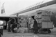 27/01/1962<br /> 01/27/1962<br /> 27 January 1962<br /> Loading Unidare heaters onto an Aer Lingus Boeing jet for export to Canada at Dublin Airport.