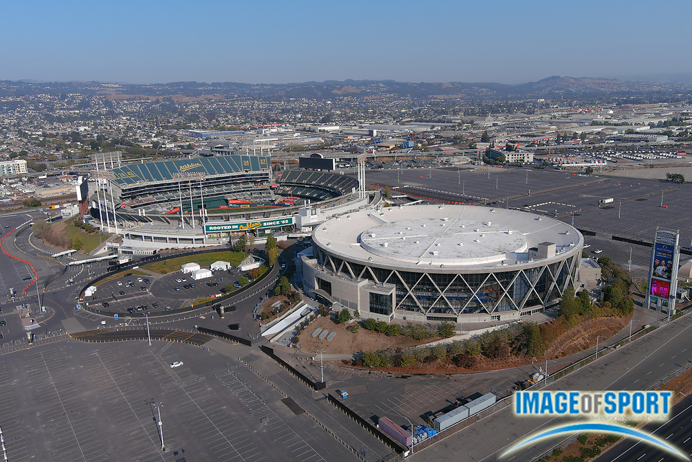 A general view of the Oakland-Alameda County Coliseum Complex, Monday, Sept. 28, 2020, in Oakland, Calif. The stadium is the home of the Oakland Athletics and the Oakland Raiders from 1966-81 and 1995-2019. The arena served as the home of the Golden State Warriors from 1971-2019.