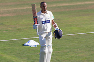 100 - Kraigg Brathwaite acknowledges the crowd on reaching 100during the Specsavers County Champ Div 2 match between Glamorgan County Cricket Club and Leicestershire County Cricket Club at the SWALEC Stadium, Cardiff, United Kingdom on 18 September 2019.