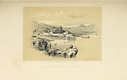 Tiberias and Safed from The Holy Land : Syria, Idumea, Arabia, Egypt & Nubia by Roberts, David, (1796-1864) Engraved by Louis Haghe. Volume 1. Book Published in 1855 by D. Appleton & Co., 346 & 348 Broadway in New York.