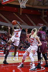 29 January 2017: Brechelle Beachum completes a lay up during an College Missouri Valley Conference Women's Basketball game between Illinois State University Redbirds the Salukis of Southern Illinois at Redbird Arena in Normal Illinois.