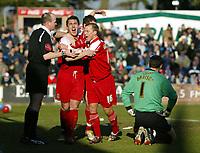 Photo: Chris Ratcliffe.<br />Colchester United v Southend United. Coca Cola League 1. 04/03/2006.<br />Che Wilson (far left) celebrates scoring Southend's third goal.