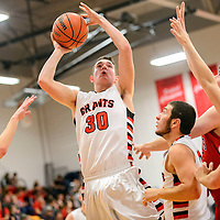 022515  Adron Gardner/Independent<br /> <br /> Grants Pirate Trace Burgoon (30) attempts a jump shot to score on the Albuquerque Academy Chargers at Grants High School Wednesday.
