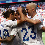 Fabian Johnson, USA, is congratulated by team mates after scoring his sides first goal during the US Men's National Team Vs Turkey friendly match at Red Bull Arena.  The game was part of the USA teams three-game send-off series in preparation for the 2014 FIFA World Cup in Brazil. Red Bull Arena, Harrison, New Jersey. USA. 1st June 2014. Photo Tim Clayton