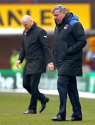 Everton manager Sam Allardyce (right) and Burnley manager Sean Dyche leave the pitch at half time during the Premier League match at Turf Moor, Burnley.