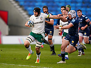 London Irish Back row Matt Rogerson hands off Sale Sharks Curtis Langdon as he makes a break during a Gallagher Premiership Round 14 Rugby Union match, Sunday, Mar 21, 2021, in Eccles, United Kingdom. (Steve Flynn/Image of Sport)