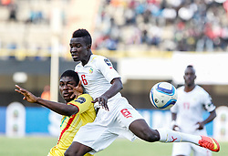 DAKAR, March 20, 2015  Elimane Cisse (R) of Senegal competes during the semifinal of the 2015 African U20 Championship against Mali in Dakar, Senegal, March 19, 2015. Senegal advanced to the final with 2-1.  (Credit Image: RealTime Images)