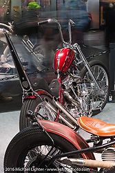 Andreas Bergerforth of Thunderbike in Hamminkeln, Germany built this 30th Anniversary Pan from a 1950 Harley-Davidson FL here on display in the AMD World Championship of Custom Bike Building in the custom themed Hall 10 at the Intermot Motorcycle Trade Fair. Cologne, Germany. Saturday October 8, 2016. Photography ©2016 Michael Lichter.