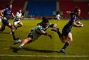 Sale Sharks fly-half AJ McGinty  hands off Newcastle Falcons Prop  Logovi'i Mulipola to set up a try for Sale Sharks lock Lood De Jager during a Gallagher Premiership Round 12 Rugby Union match, Friday, Mar 05, 2021, in Eccles, United Kingdom. (Steve Flynn/Image of Sport)