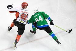 Blaz Tomazevic of HDD SIJ Acroni Jesenice and Andrej Hebar of HK SZ Olimpija during ice hockey match between HK SZ Olimpija and HDD SIJ Acroni Jesenice in AHL - Alps Hockey League 2017/18, on October 25, 2017 in Hala Tivoli, Ljubljana, Slovenia. Photo by Matic Klansek Velej / Sportida