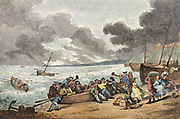Embarking from Brighthelmstone to Dieppe 1787 Thomas Rowlandson (British, 1756-1827) England, 18th century Etching, hand colored