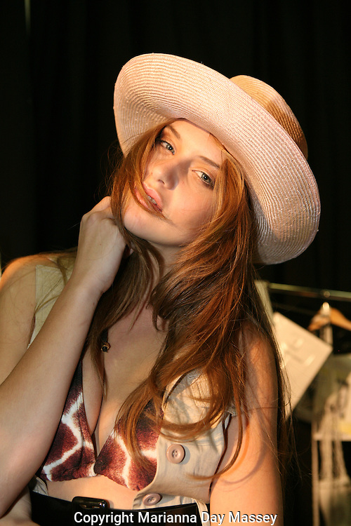 Apr 29, 2009 - Sydney, Australia - A model backstage at the women's Ready To Wear Swimwear featuring 'White Sands',  'April Mane,' and 'Kini Bikini' during the Spring/Summer 2009/2010 collection, during Rosemount Australian Fashion Week in Sydney ..(Credit Image: © Hannah Mason/Corbis)
