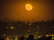 The moon shines over the California state.