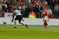 Photo: Steve Bond/Richard Lane Photography. <br />Nottingham Forest v Yeovil Town. Coca-Cola Football League One. 03/05/2008. Kris Commons (R) slots the ball past keeper Steve Mildenhall for goal no2