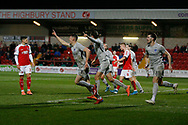 Goal celebration by James Bolton of Portsmouth, 0-1, during the The FA Cup match between Fleetwood Town and Portsmouth at the Highbury Stadium, Fleetwood, England on 4 January 2020.