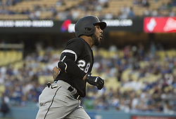 August 16, 2017 - Los Angeles, California, U.S - 16 Aug 2017. The Los Angeles Dodgers play the Chicago White Sox in the second game of a two-game series at Dodger Stadium. Pictured is Chicago White Sox Leury Garcia who homered in the first inning. (Credit Image: © Prensa Internacional via ZUMA Wire)
