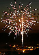 Town of Woodbury fireworks seen from the scenic overlook on Route 6 in Central Valley, N.Y..July 3, 2004.