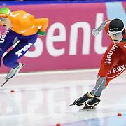 NLD/Heerenveen/20130111 - ISU Europees Kampioenschap Allround schaatsen 2013, 5000 meter heren, Sverre Lunde Pedersen - Jan Blokhuijsen