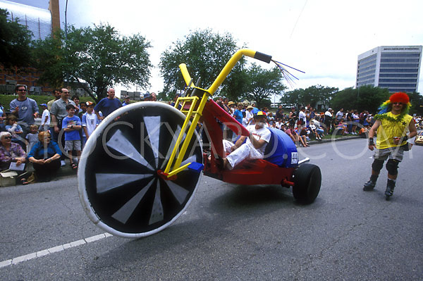 Stock photo of a giant tricycle car