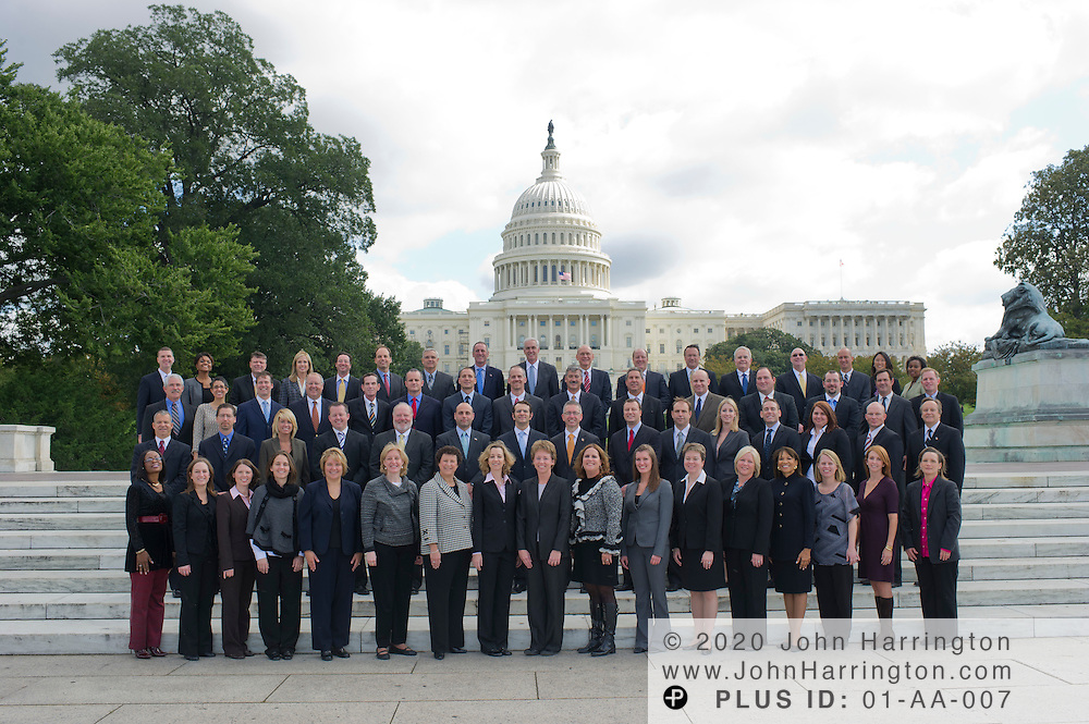 A group of representatives from Baxter Healthcare in front of the Capitol building in Washington, DC on October 4th, 2011.