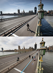 COMBINATION IMAGE © Licensed to London News Pictures. 24/03/2021. London, UK. This combination image shows Westminster Bridge on the first full day of lockdown on March 24th 2020 (top) and today, one year later (lower). Traffic is still relatively light, but the pavements are marked with a blue line one way system for pedestrians to enable social distancing. Coronavirus restrictions are to be eased over the coming weeks as vaccinations near 30 million and infection rates and deaths continue to drop. Photo credit: Peter Macdiarmid/LNP **Use requires payment for two pictures**
