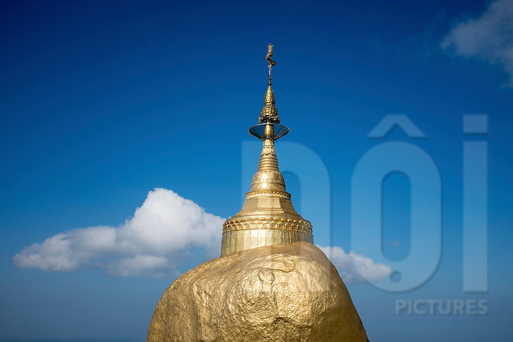 A small spire located on the top of the Golden Rock Pagoda, (Kyaiktiyo Pagoda) in Mon state, Myanmar, Southeast Asia