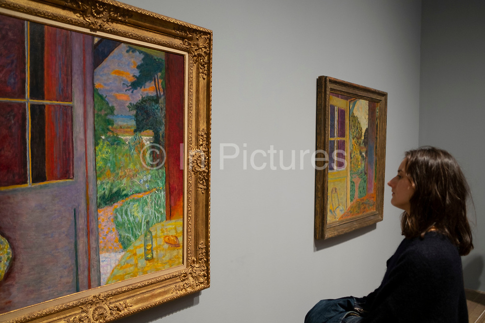 Visitors view paintings by Post-Impressionist artist Pierre Bonnard at Tate Modern art gallery in London, England, United Kingdom. Pierre Bonnard was a French painter and printmaker, as well as a founding member of the Post-Impressionist  group of avant-garde painters Les Nabis. Bonnard preferred to work from memory, using drawings as a reference, and his paintings are often characterized by a dreamlike quality.