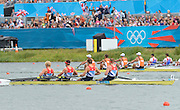 Eton Dorney, Windsor, Great Britain,..2012 London Olympic Regatta, Dorney Lake. Eton Rowing Centre, Berkshire[ Rowing]..Gold medalist, GBR M4-   Bow Alex GREGORY, Peter REED, Tom JAMES and Andy TRIGGS HODGE, qualify for the final of  Men's Four.  Dorney Lake. 10:15:42  Thursday  02/08/2012 [Mandatory Credit: Peter Spurrier/Intersport Images]  .