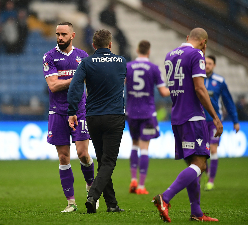 Bolton Wanderers' Aaron Wilbraham, left, shakes hands with Bolton Wanderers manager Phil Parkinson at the end of the game<br /> <br /> Photographer Chris Vaughan/CameraSport<br /> <br /> The EFL Sky Bet Championship - Sheffield Wednesday v Bolton Wanderers - Saturday 10th March 2018 - Hillsborough - Sheffield<br /> <br /> World Copyright © 2018 CameraSport. All rights reserved. 43 Linden Ave. Countesthorpe. Leicester. England. LE8 5PG - Tel: +44 (0) 116 277 4147 - admin@camerasport.com - www.camerasport.com
