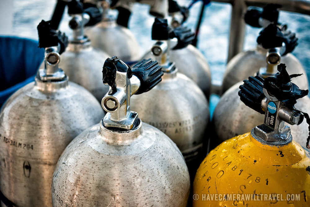 Scuba tanks for diving on Swains Reef on Australia's Great Barrier Reef.