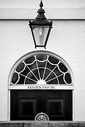 Chiswick. London. Saturday. 23.01.2016. Wrought Iron Lantane and a Fanlight Window. over the front door Leyden House,  [Mandatory Credit: Peter Spurrier/Intersport-images.com