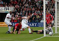 Photo: Kevin Poolman.<br />AFC Bournemouth v Brentford. Coca Cola League 1. 06/05/2006. Brentford's Andrew Frampton makes it 2-1 to Brentford.