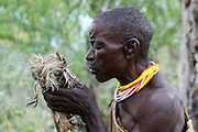 Africa, Tanzania, Lake Eyasi, Hadza tribe. A small tribe of hunter gatherers AKA Hadzabe Tribe male tribesman